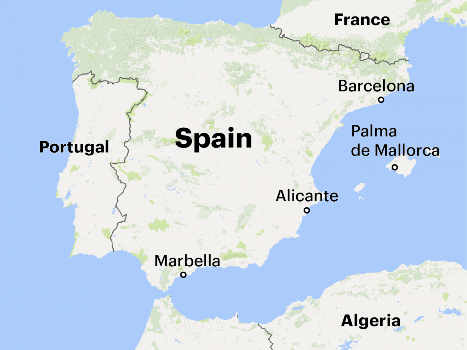 Russian mobsters have based themselves in some of the most beautiful cities on the Spanish coast and been especially aggressive in Barcelona, capital of the Catalonia region. Map data: Google