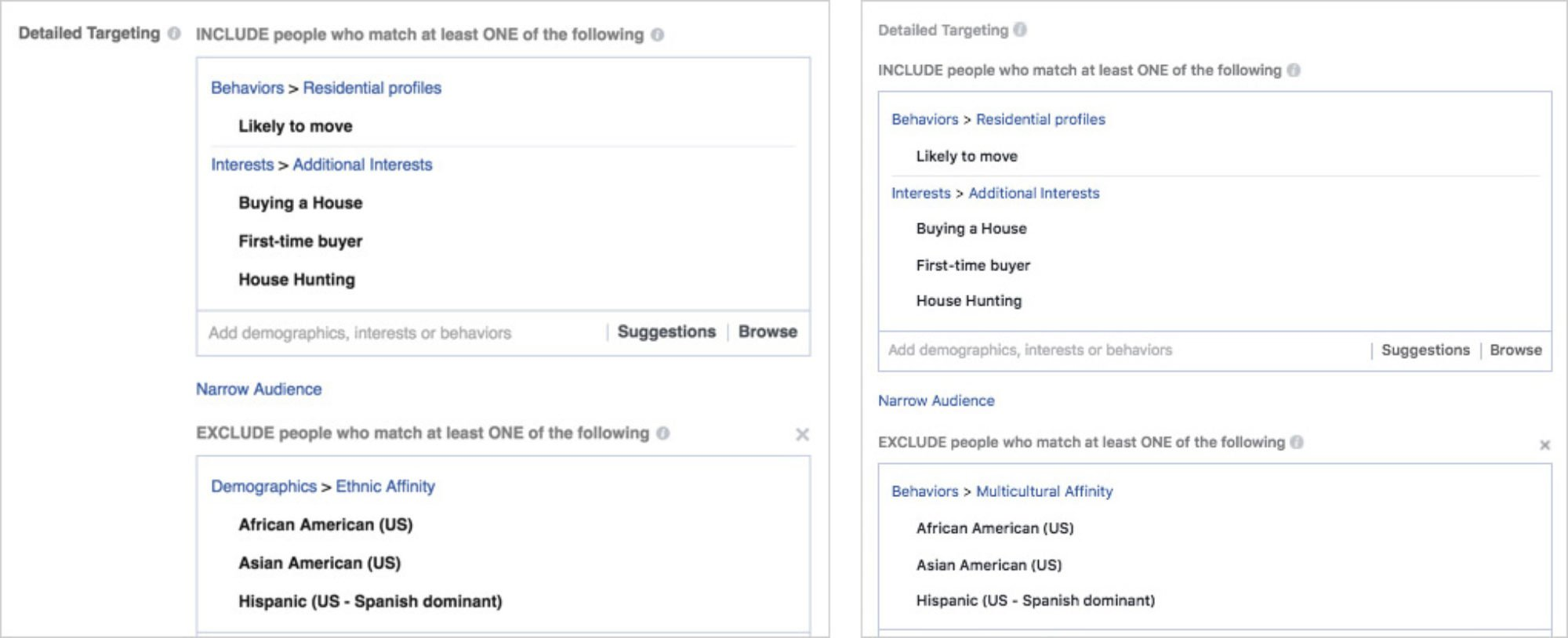 Left: A screenshot of ad targeting categories ProPublica submitted and Facebook approved in 2016. Right: Categories ProPublica submitted and were approved in 2017, raising questions about what the social network has done to police discriminatory ads.