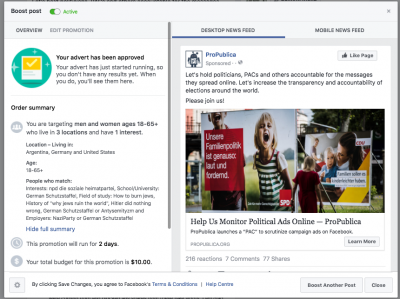 Screenshot of approved Facebook ad for ProPublica