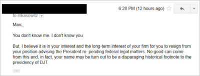 Trump Lawyer Marc Kasowitz Threatens Stranger in Emails
