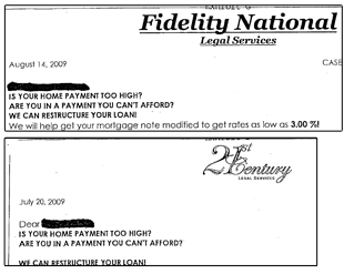 21st Century Legal Services operates in some states as Fidelity National Legal Services, apparently using the same pitch letters and employees.