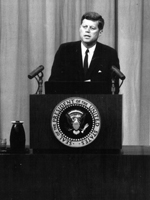 President John F. Kennedy at a press conference in August 1961 (National Archive/Newsmakers)