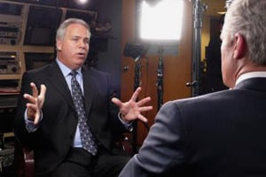 Larry Register, a former CNN executive with 20 years of news experience, replaced Mouafac Harb in 2006, but resigned seven months later after missteps that included authorizing the airing of three reports on a Holocaust deniers conference. (Photo courtesy of 60 Minutes)
