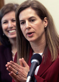 Connecticut Secretary of State Susan Bysiewicz is still considering a lawsuit to gain access to VA hospitals to register patients. (Credit: Bob Child/AP Photo)