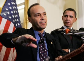 Rep. Luis Gutierrez speaks at a press conference with now President-Elect Barack Obama in March 2007. (Manuel Balce Ceneta/AP Photo