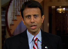 Louisiana Gov. Bobby Jindal delivers the Republican Party's official response to President Barack Obama's address to a joint session of Congress on Feb. 24, 2009. (APTN Pool/AP Photo)