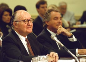 Bernard Madoff, right, testifies before the House subcommittee on Telecommunications and Finance on May 13, 1993 in Washington. (AP Photo)
