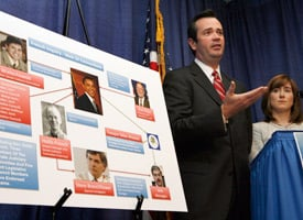 Spokespersons with the McCain campaign in a news conference in Anchorage, Alaska, showing Barack Obama at the center of the 'Web of Connections' in 'Troopergate' inquiry. (Credit: Al Grillo/AP Photo)