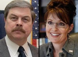 Walter Monegan and Sarah Palin (Credit: Al Grillo/AP Photo)