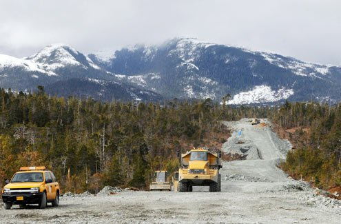 Construction on the Gravina Island Highway in April 2008 (Credit: Hall Anderson/Ketchikan News, AP Photo)