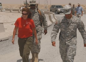 Sarah Palin on her visit to soldiers in the Alaska National Guard stationed at Camp Virginia, Kuwait in July 2007. (Credit: DoD/AP Photo)