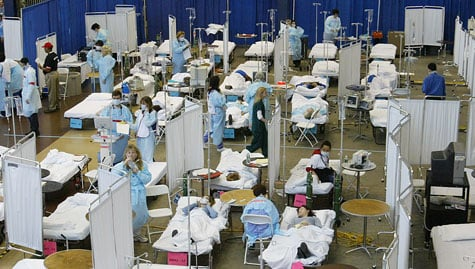 A triage training exercise at Robert Wood Johnson University Hospital in New Jersey in April 2005. (Stephen Chernin/Getty Images)