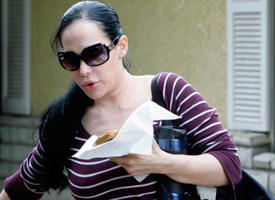 Nadya Suleman, the mother of octuplets, leaves her home in Whittier, Calif. (Nick Ut/AP Photo)
