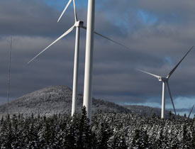 Turbines are seen along the Kibby Mountain Range in Western Maine, on Thursday, Oct. 15, 2009. (AP Photo/Pat Wellenbach)