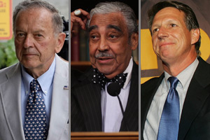 Sen. Ted Stevens, Rep. Charles Rangel and Rep. Tim Mahoney (Getty Images/AP Photo)
