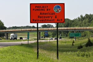 An American Recovery and Reinvestment Act sign is the only indication that Interstate 94 outside of St. Cloud, Minn., is about to undergo construction funded by the stimulus. (Jason Wachter/ProPublica)