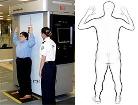 A full body screening machine used by the TSA and a rendering of the output scan (TSA)