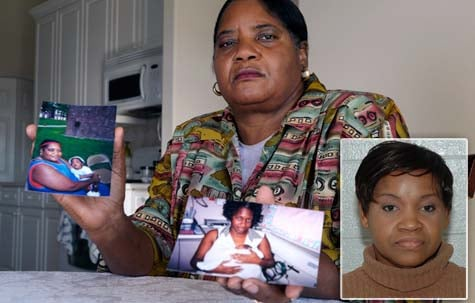 Helen Brown holds a photo of her and her grandson, Thierry LaMarque, left, and a photo of her daughter, Glenda Brown, with Thierry in her home in Clermont, Fla. LaMarque was one of two children who died while in the care of Orphia Wilson (inset mugshot), a home health nurse. (Special to the Los Angeles Times/Phelan M. Ebenhack)