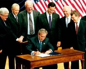 President Bush signs the Partial Birth Abortion Ban Act of 2003, at the Ronald Reagan Building in Washington, D.C.
