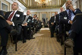 Small business owners and bankers listen as Treasury Secretary Timothy Geithner delivers remarks at a November 2009 forum. (AFP Photo/Paul J. Richards/Getty Images)