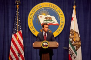 Gov. Schwarzenegger unveils his state budget proposal for the 2010-11 fiscal year. (Photo courtesy of the office of Gov. Schwarzenegger)