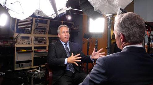 CBS News' Scott Pelley interviews Larry Register, former news director of Al Hurra. <i>Credit: CBS News</i>