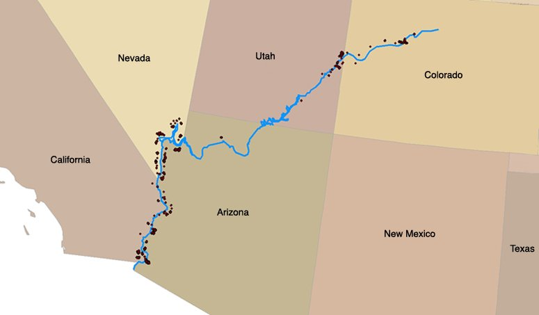 Map Mining Claims Along The Colorado River ProPublica - Map of colo
