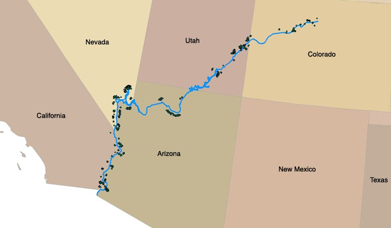 Map Mining Claims Along The Colorado River ProPublica - Colo river map