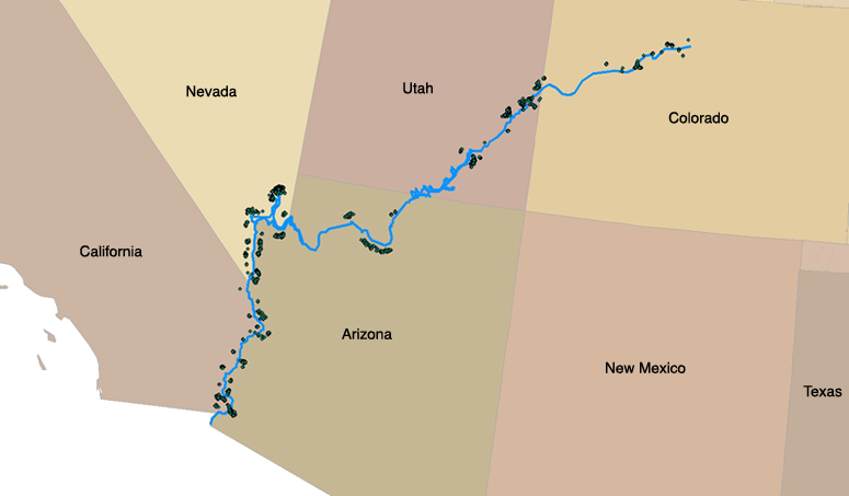 Colorado River Location On Map Map: Mining Claims Along the Colorado River — ProPublica