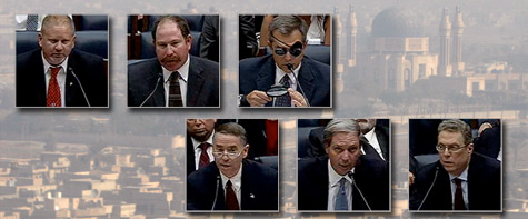 Injured war contractors, from top left, Tim Newman, Kevin Smith and John Woodson confronted their insurers, from bottom left, CNA's George Fay and AIG's Kristian Moor and Charles Schader in a hearing held by the Domestic Panel of the House Oversight and Government Reform Committee.