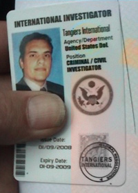 The ID card carried by a Tangiers International employee.