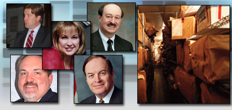 The expansion of DNA collection laws has caused the DNA backlog to soar. From top left: Christopher Asplen of Gordon Thomas Honeywell Governmental Affairs, Kevin Lothridge of NFSTC, Kellie Greene, a rape victim who founded the advocacy group SOAR, Michael Sheppo of NIJ and Sen. Richard Shelby (R-Ala.). (ProPublica)