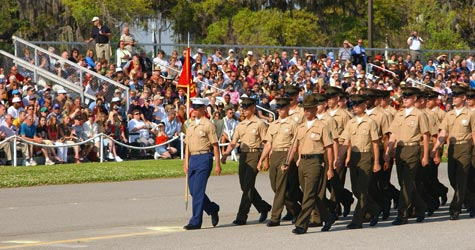 New U.S. Marines march across the parade deck during graduation ceremonies at Marine Corps Recruit Depot in Parris Island, S.C., in April 2005. Charles Faddis, attending a ceremony like this, watched sentries fail to search vehicles or effectively screen visitors before the graduation. (Staff Sgt. John A. Lee II/Released)