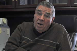Elkhart Mayor Dick Moore in his office on April 8, 2009. (Amanda Rivkin/ProPublica)