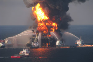 The U.S. Coast Guard responds to the Deepwater Horizon disaster after it exploded on April 20, 2010. (Deepwater Horizon Response)