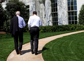 President Barack Obama and Vice President Joe Biden walk back to the Oval Office on April 24, 2009. (Official White House Photo by Pete Souza)