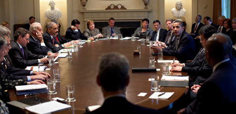 President Barack Obama meets with members of his Cabinet in the Cabinet Room at the White House on April 20, 2009. (Official White House Photo by Pete Souza)