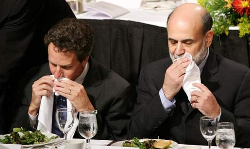 Timothy Geithner, then president of the New York Fed, with Federal Reserve Chairman Ben Bernanke, in this Oct. 2008 file photo (Mark Lennihan/AP)