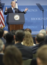 Vice President Joe Biden at the Brookings Institution. (Jim Watson/AFP/Getty Images)