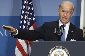 US Vice President Joe Biden makes remarks at the Brookings Institute in Washington, DC, September 3, 2009 on the 200 days of the American Recovery and Reinvestment Act. (JIM WATSON/AFP/Getty Images)