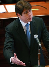 Gov. Rod Blagojevich addresses the Illinois Senate during his impeachment trial. (Scott Olson/Getty Images)