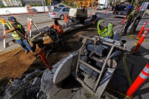 The City of West Hollywood received $1 million in federal funds from the stimulus for the Sunset Strip Beautification Project seen here. (Kevork Djansezian/Getty Images)