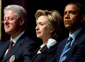Former President Bill Clinton, Sen, Hillary Clinton and President-elect Barack Obama (Saul Loeb/AFP/Getty Images)