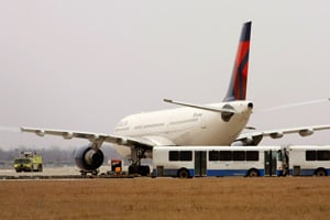 A Delta Airlines jet sits at a remote part of the Detroit Metropolitan Airport after a Christmas bombing attempt. (Bill Pugliano/Getty Images)