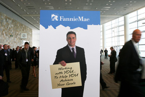 A Fannie Mae ad at the 2008 Mortgage Bankers Association conference. (Justin Sullivan/Getty Images)