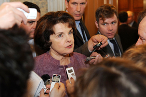 Sen. Dianne Feinstein talks with reporters after attending the Democrats' weekly caucus which was addressed by former President Bill Clinton discussing health care legislation on November 10, 2009 inside the Capitol in Washington, D.C.  (Tim Sloan/AFP/Getty Images)