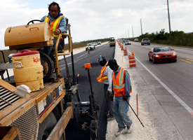 Road construction crews work on a project run by the Florida Department of Transportation on Feb. 18, 2009 as part of the state's use of its stimulus funds. (Joe Raedle/Getty Images)