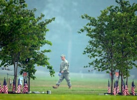 A soldier with the Army's 3rd Infantry Division walks along Warrior's Walk at Fort Stewart, Ga., one of the state's military installations that is getting a piece of the stimulus pie. The state's Republican senator, Saxby Chambliss, opposed the stimulus but has lobbied for stimulus funding. (Stephen Morton/Getty Images)