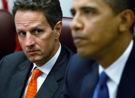 Treasury Secretary Nominee Timothy Geithner and President-elect Barack Obama. (Chip Somodevilla/Getty Images)