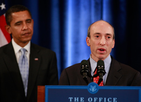 Gary Gensler speaks after being introduced by President-elect Barack Obama to head the Commodities Futures Trading Commission. (Scott Olson/Getty Images)